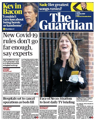 The Guardian Newspaper Front Page (UK) for 9 October 2020
