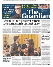The Guardian (UK) Newspaper Front Page for 9 November 2018