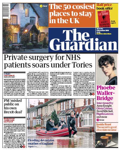 The Guardian Newspaper Front Page (UK) for 9 November 2019