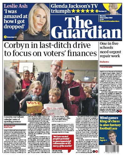 The Guardian Newspaper Front Page (UK) for 9 December 2019