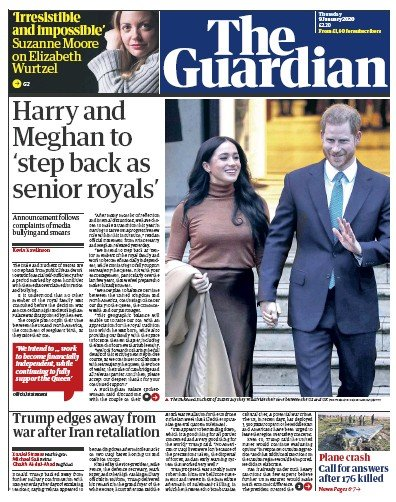 The Guardian Newspaper Front Page (UK) for 9 January 2020