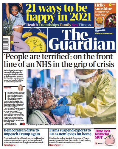The Guardian Newspaper Front Page (UK) for 9 January 2021