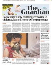 The Guardian (UK) Newspaper Front Page for 9 April 2018