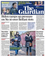 The Guardian front page for 9 April 2021
