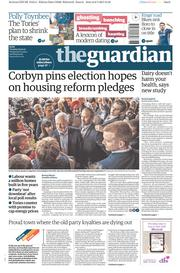 The Guardian (UK) Newspaper Front Page for 9 May 2017