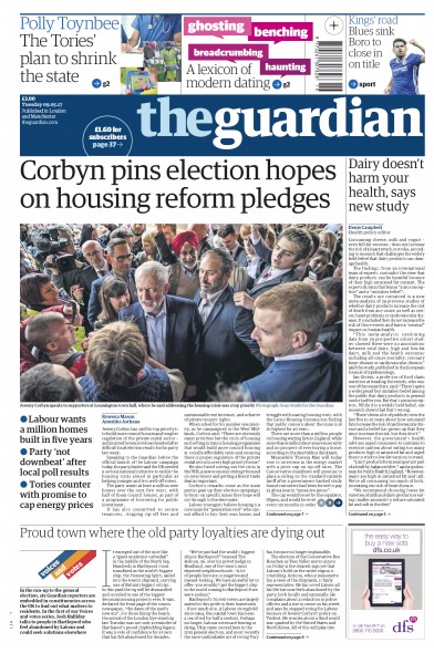 The Guardian Newspaper Front Page (UK) for 9 May 2017