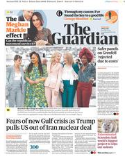 The Guardian (UK) Newspaper Front Page for 9 May 2018