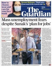 The Guardian front page for 9 July 2020