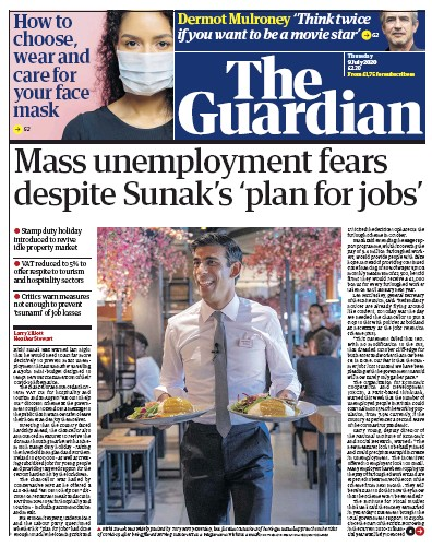 The Guardian Newspaper Front Page (UK) for 9 July 2020