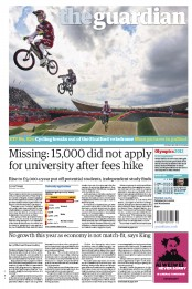 The Guardian Newspaper Front Page (UK) for 9 August 2012