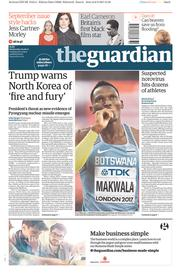The Guardian (UK) Newspaper Front Page for 9 August 2017