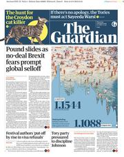 The Guardian (UK) Newspaper Front Page for 9 August 2018