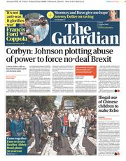 The Guardian (UK) Newspaper Front Page for 9 August 2019