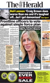 The Herald (UK) Newspaper Front Page for 12 April 2011