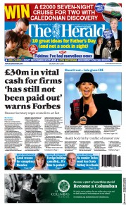 The Herald () Newspaper Front Page for 12 June 2021