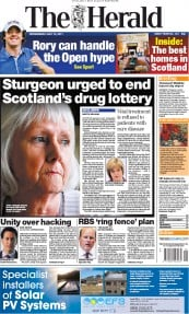 Glasgow Herald Newspaper Front Page (UK) for 13 July 2011