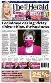 The Herald () Newspaper Front Page for 16 June 2021