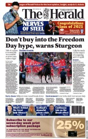 The Herald () Newspaper Front Page for 19 July 2021