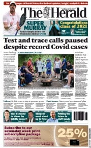 The Herald () Newspaper Front Page for 1 July 2021