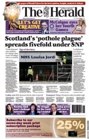 The Herald () Newspaper Front Page for 20 July 2021