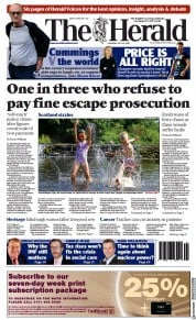 The Herald () Newspaper Front Page for 22 July 2021