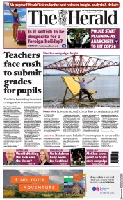 The Herald front page for 27 March 2021