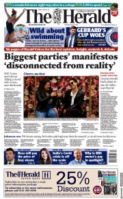 The Herald () Newspaper Front Page for 27 April 2021