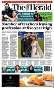 The Herald () Newspaper Front Page for 30 July 2021