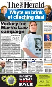 The Herald () Newspaper Front Page for 31 March 2011