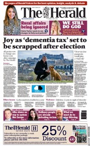 The Herald (UK) Newspaper Front Page for 6 April 2021
