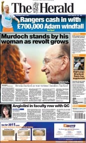 Glasgow Herald Newspaper Front Page (UK) for 7 July 2011