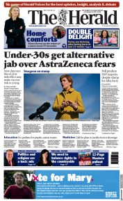 The Herald () Newspaper Front Page for 8 April 2021