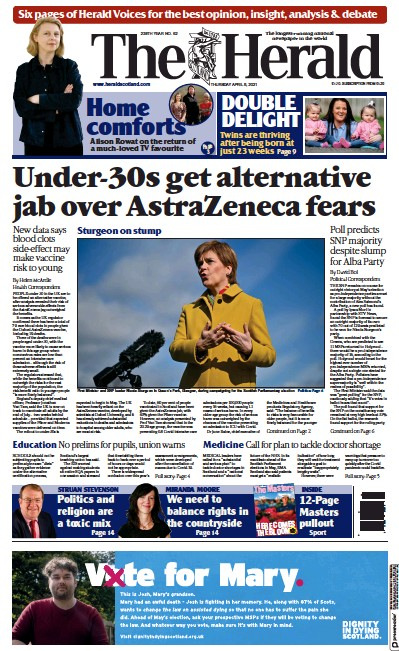 The Herald Newspaper Front Page (UK) for 8 April 2021
