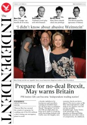 The Independent (UK) Newspaper Front Page for 10 October 2017