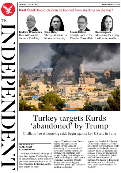 The Independent Newspaper Front Page (UK) for 10 October 2019