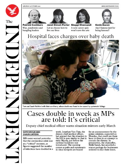 The Independent Newspaper Front Page (UK) for 10 October 2020