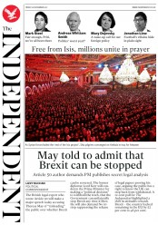 The Independent (UK) Newspaper Front Page for 10 November 2017