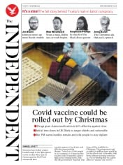 The Independent front page for 10 November 2020