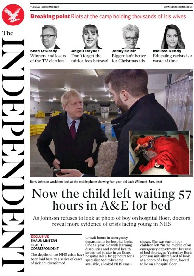 The Independent Newspaper Front Page (UK) for 10 December 2019