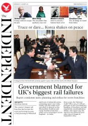 The Independent (UK) Newspaper Front Page for 10 January 2018