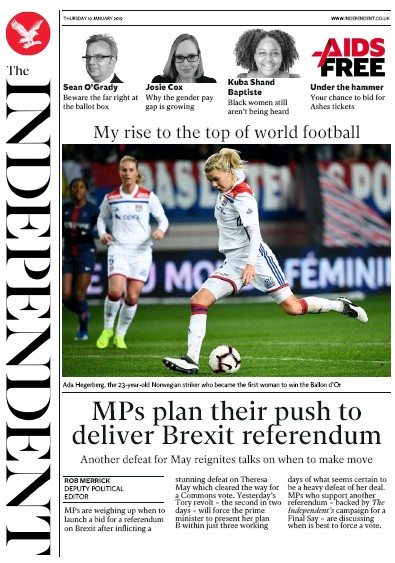 The Independent Newspaper Front Page (UK) for 10 January 2019
