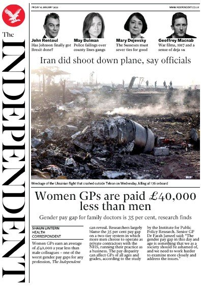 The Independent Newspaper Front Page (UK) for 10 January 2020