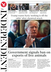 The Independent (UK) Newspaper Front Page for 10 April 2018