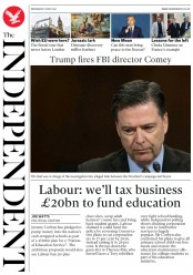 The Independent (UK) Newspaper Front Page for 10 May 2017