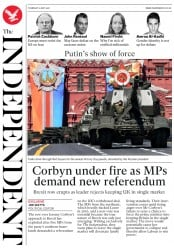 The Independent (UK) Newspaper Front Page for 10 May 2018