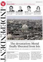 The Independent (UK) Newspaper Front Page for 10 July 2017