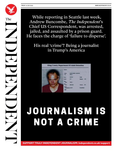 The Independent Newspaper Front Page (UK) for 10 July 2020