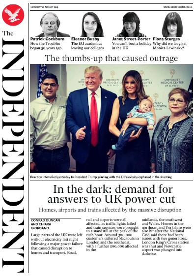 The Independent Newspaper Front Page (UK) for 10 August 2019