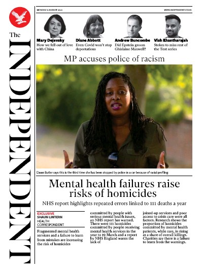 The Independent Newspaper Front Page (UK) for 10 August 2020