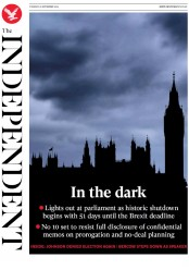 The Independent (UK) Newspaper Front Page for 10 September 2019